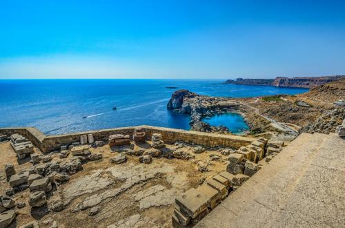 Panoramic view in Ancient Lindos, part of private tours