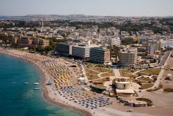 Elli beach in Rhodes town, sandy , long, busy , a nice beach if you want to socialize